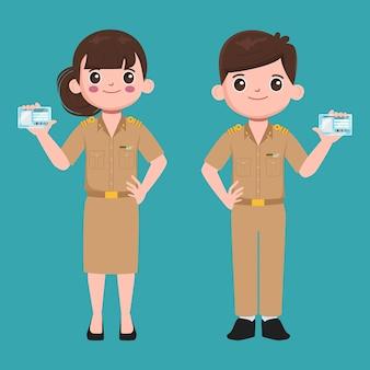 Ilustracja postaci nauczyciela rządu tajskiego