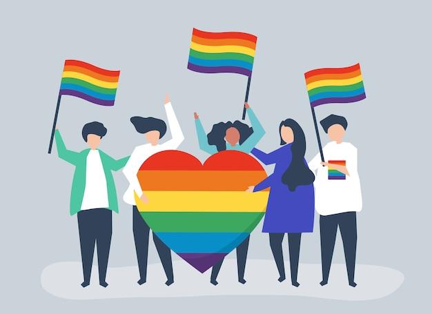 Ilustracja postaci osób posiadających ikony wsparcia lgbt