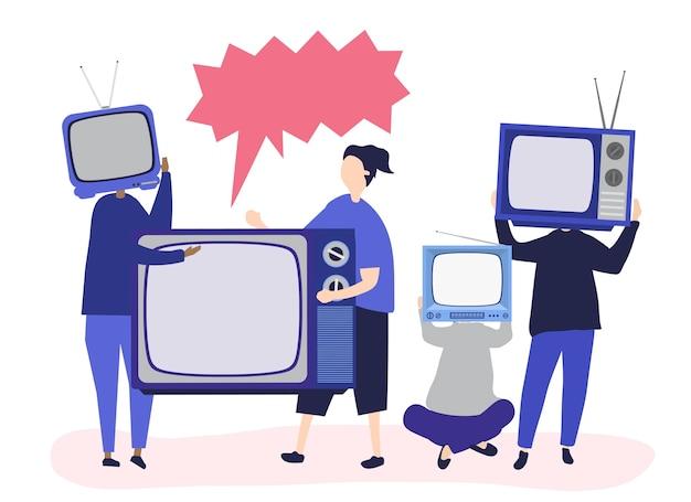 Ilustracja postaci osób z analogowymi ikonami tv