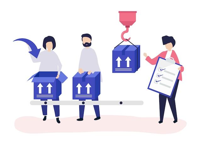 Ilustracja postaci osób z paczkami do wysyłki