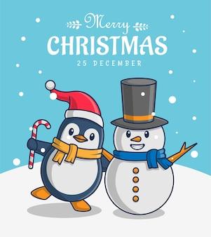 Ilustracja postaci pingwina i bałwana z życzeniami wesołych świąt
