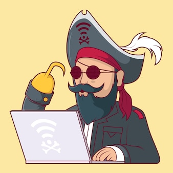Ilustracja postaci pirata sieci web.