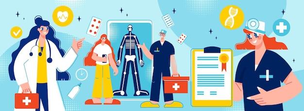 Ilustracja postaci pracowników służby zdrowia