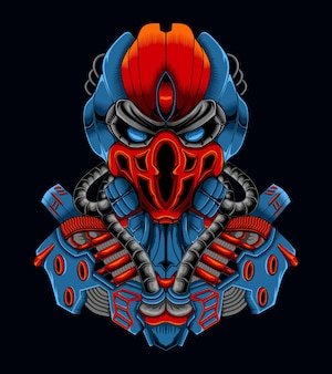 Ilustracja postaci robota cyborga z żelazną czaszką