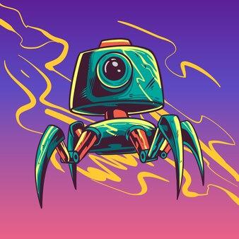 Ilustracja postaci robota zielony cctv