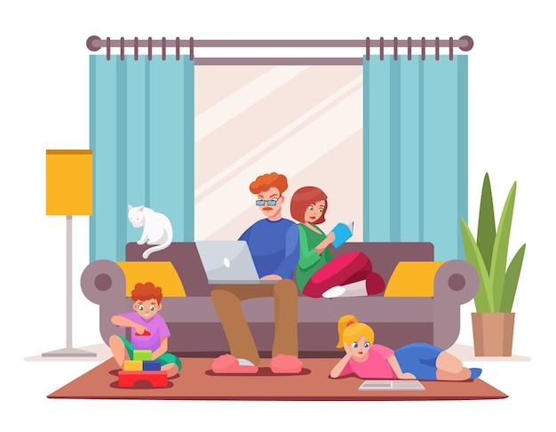Ilustracja postaci rodziny pobytu w domu. tata i mama siedzą na kanapie, pracują na laptopie, czytają książkę. syn bawi się zabawkowymi kostkami. córka czyta, odrabia lekcje. salon wnętrza domu