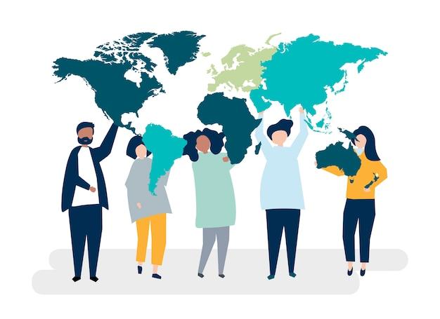 Ilustracja postaci różnych ludzi i świata