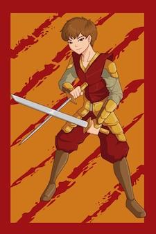 Ilustracja postaci samuraja chłopca