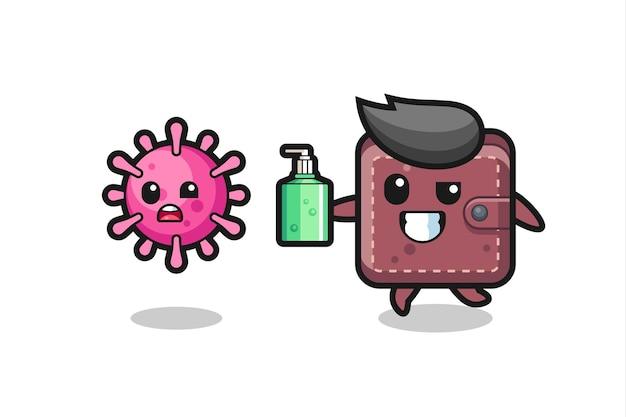 Ilustracja postaci skórzanego portfela goniącego złego wirusa za pomocą środka do dezynfekcji rąk, ładny styl na koszulkę, naklejkę, element logo