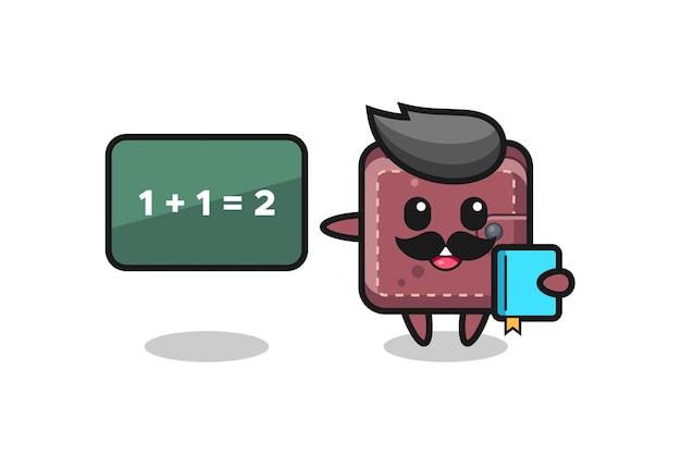 Ilustracja postaci skórzanego portfela jako nauczyciela