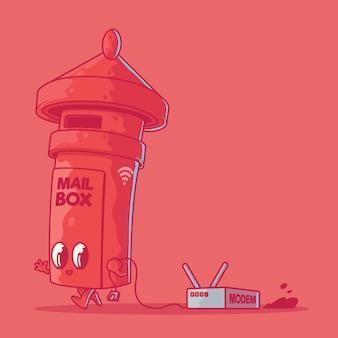 Ilustracja postaci skrzynki pocztowej. technologia, internet, koncepcja projektowania wifi