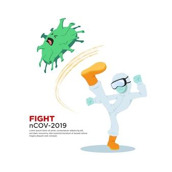 Ilustracja postaci za pomocą wirusa korony walczącej z hazmat