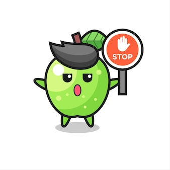 Ilustracja postaci zielonego jabłka trzymającego znak stopu, ładny styl dla koszulki, naklejki, elementu logo