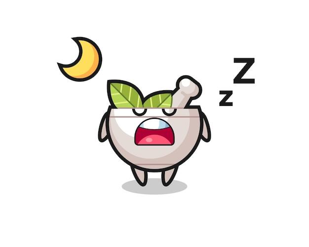 Ilustracja postaci ziołowej miski do spania w nocy, ładny styl na koszulkę, naklejkę, element logo