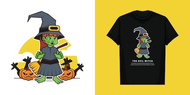Ilustracja postaci zła wiedźma w dzień halloween z projektem koszulki