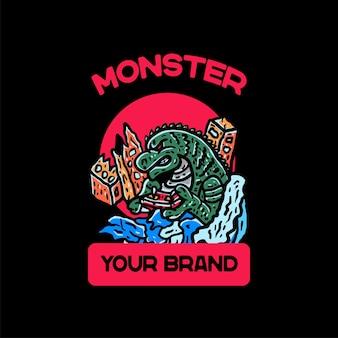 Ilustracja potwór w stylu japońskim vintage na tshirt