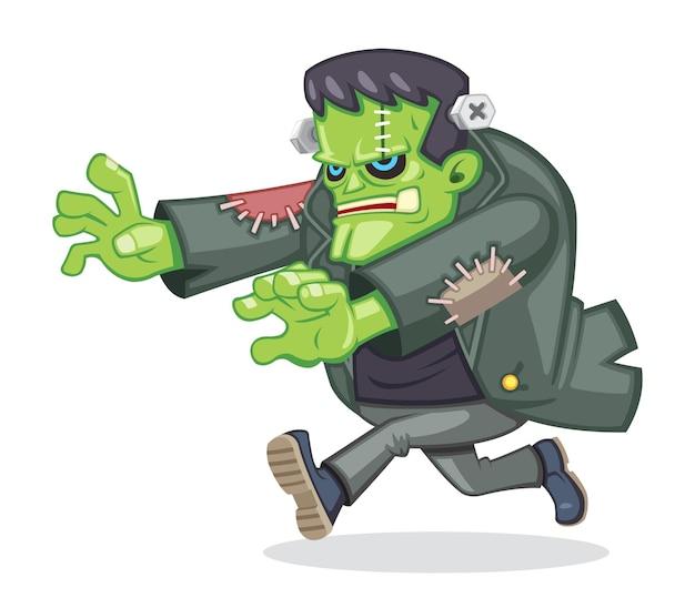 Ilustracja potwora frankensteina w stylu kreskówki