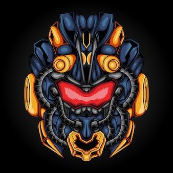 Ilustracja potwora głowy robota