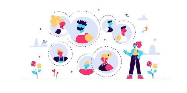 Ilustracja powiązanych relacji. sieć wzajemnych kontaktów w malutkich osobach. zespół znajomych społecznych jako grupa partnerów biznesowych. wizualizacja znajomych i drzewa genealogicznego.