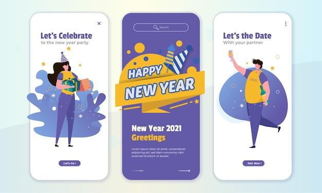 Ilustracja powitanie nowego roku na koncepcji ekranu na pokładzie