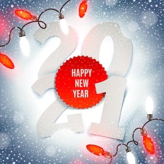 Ilustracja powitanie nowego roku - numer roku papieru i lekka girlanda wakacje na śniegu.