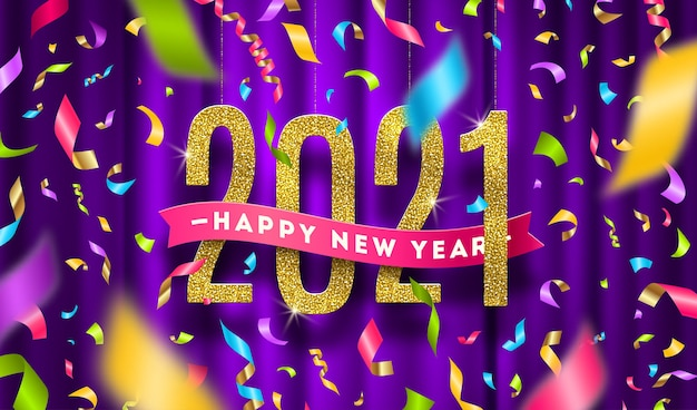 Ilustracja powitanie nowego roku. złote cyfry i kolorowe konfetti na fioletowej zasłonie.