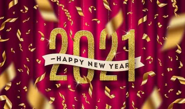 Ilustracja powitanie nowego roku. złote cyfry i konfetti na tle czerwonej kurtyny.
