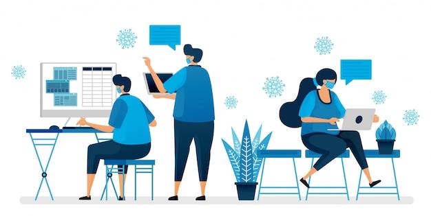 Ilustracja powrotu do biura podczas pandemii covid-19 przez noszenie maski. protokół roboczy w nowej normalnej. projekt może być wykorzystany do strony docelowej, strony internetowej, aplikacji mobilnej, plakatu, ulotek, banera