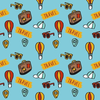 Ilustracja powtarzającego się wzoru bezszwowej koncepcji ślicznych ręcznie rysowanych ikon podróży