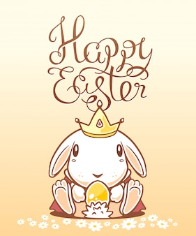 Ilustracja pozdrowienia wesołych świąt z białym zajączek trzyma jajko na żółtym tle.