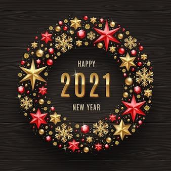 Ilustracja pozdrowienie nowego roku. życzenia noworoczne w ramce wystroju bożego narodzenia.