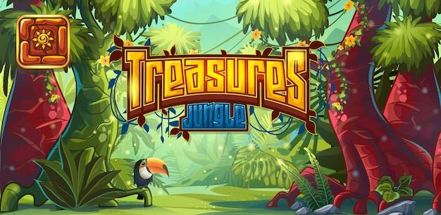 Ilustracja poziomego banera i ikony do gry komputerowej