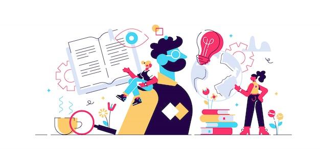 Ilustracja poznania. koncepcja płaskie małe osoby uczenia się psychicznego. studium wiedzy o symbolice informacji. abstrakcyjny rozwój mózgu i wzrost intelektu. proces rozumienia doświadczenia umysłu.