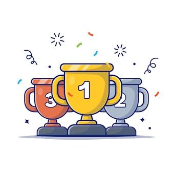Ilustracja pozycji trofeum. złote, srebrne i brązowe trofea na podium, ikona koncepcja nagrody biały na białym tle