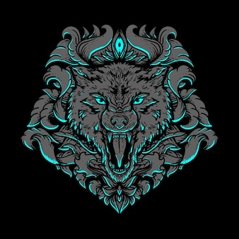 Ilustracja praca artystyczna i projekt koszulki głowa wilka złoty grawerowany ornament