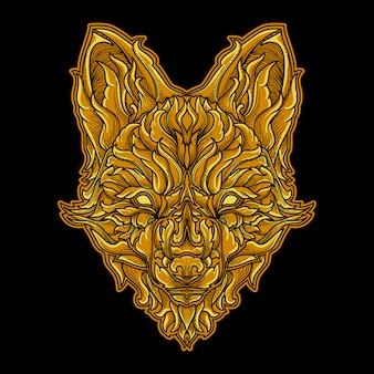 Ilustracja praca artystyczna i projekt koszulki ludzka głowa złotego lisa grawerowana ozdoba