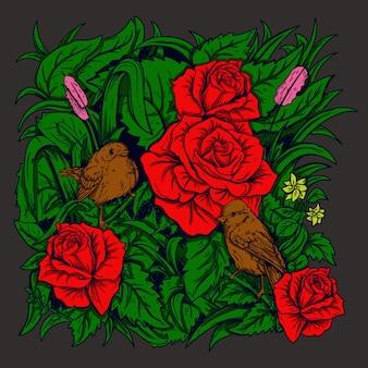 Ilustracja praca artystyczna i projekt koszulki ptak i róża