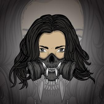 Ilustracja praca artystyczna kobiety z maską gazową czaszki