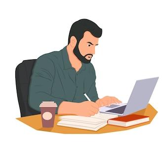Ilustracja praca niezależna. człowiek pracuje w internecie za pomocą laptopa i picia kawy. praca w domu. podróżować i pracować