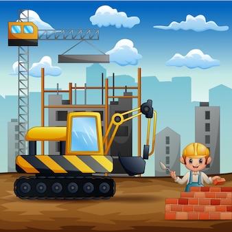 Ilustracja pracownicy budowlani przy placem budowy