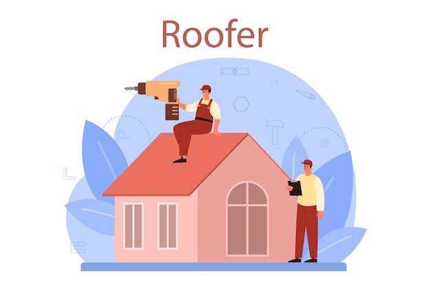 Ilustracja pracownik budowy dachu
