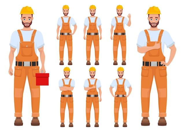 Ilustracja pracownik mężczyzna na białym tle