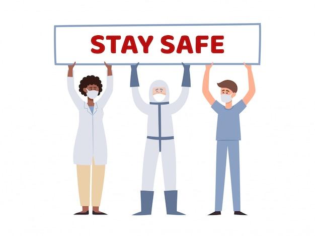 Ilustracja pracowników medycznych posiadających plakat bądź bezpieczny