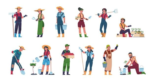 Ilustracja pracowników rolnych
