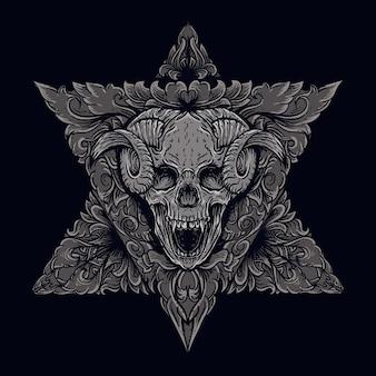 Ilustracja pracy artystycznej i projekt koszulki czaszka diabła z ornamentem grawerowania