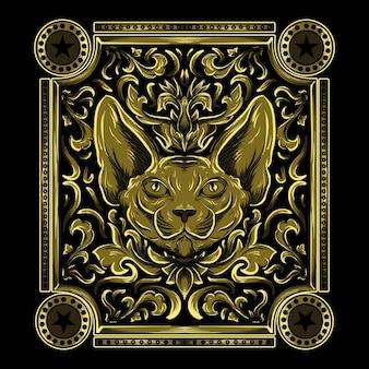 Ilustracja pracy artystycznej i projekt koszulki głowa kota sfinksa