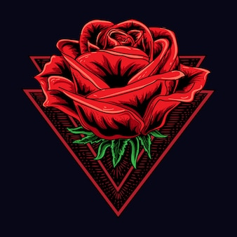 Ilustracja pracy artystycznej i projekt koszulki ludzka róża z podwójnym trójkątem