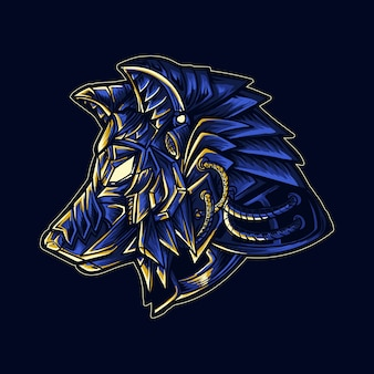 Ilustracja pracy artystycznej i t-shirt głowa robota mecha wilka