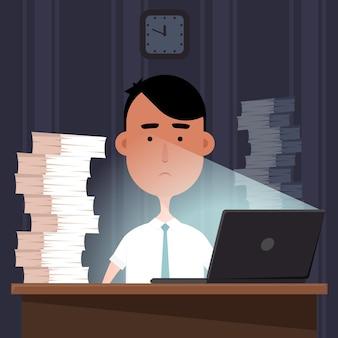 Ilustracja pracy w biurze w nocy.