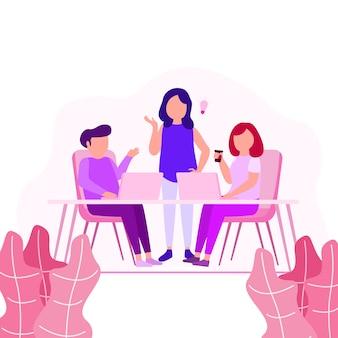 Ilustracja pracy w ramach współpracy młodzi ludzie kreatywni dzielą się pomysłami